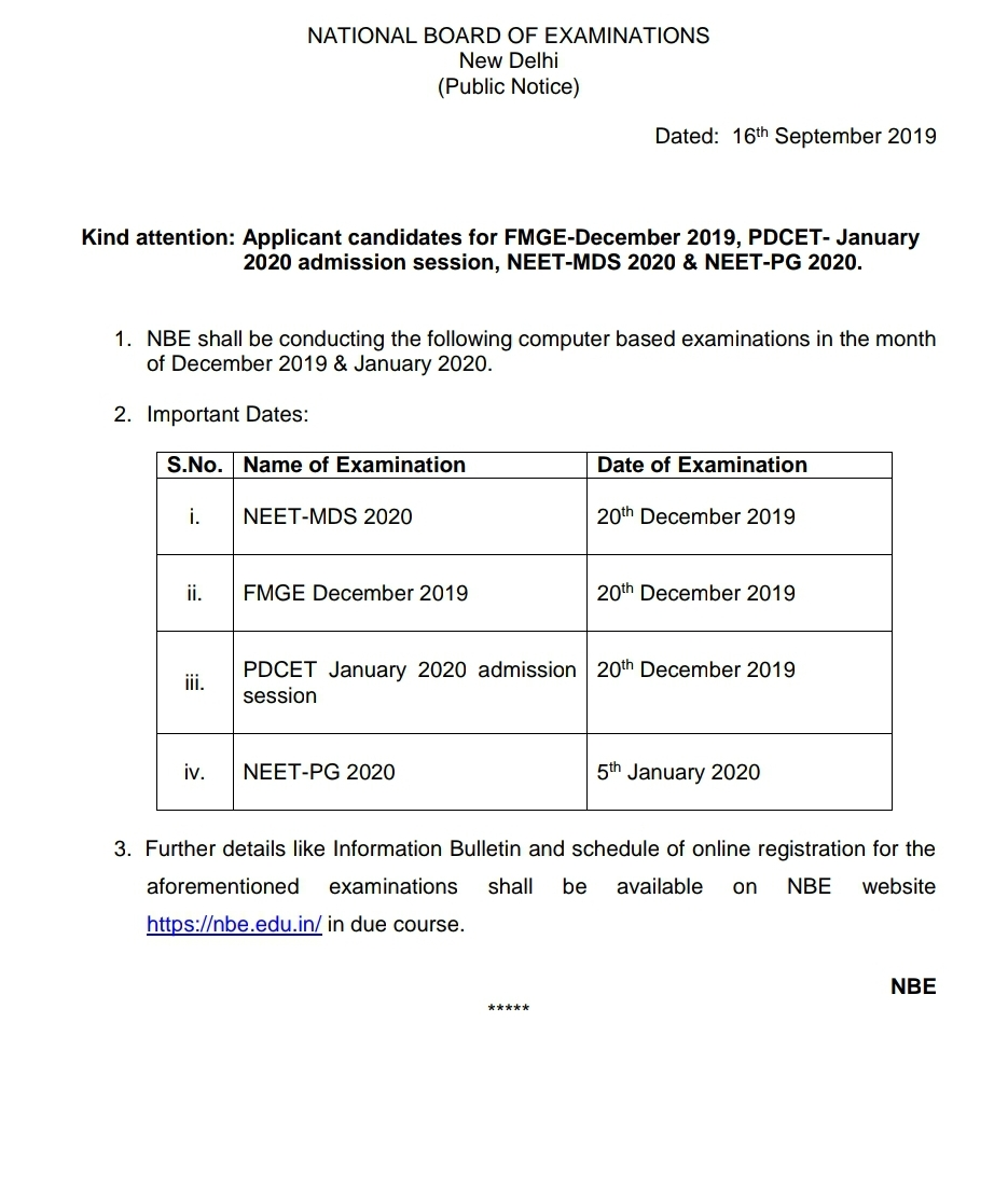 NBE ANNOUNCE EXAM DATES OF NEETPG 2020